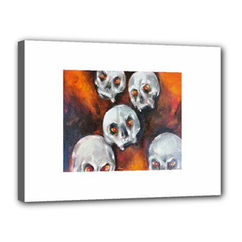 Halloween Skulls No  4 Canvas 16  X 12