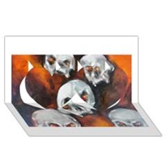 Halloween Skulls No. 4 Twin Hearts 3D Greeting Card (8x4)