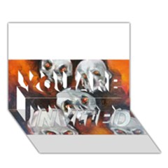 Halloween Skulls No  4 You Are Invited 3d Greeting Card (7x5)