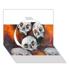 Halloween Skulls No. 4 Circle 3D Greeting Card (7x5)