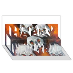 Halloween Skulls No  4 Happy New Year 3d Greeting Card (8x4)