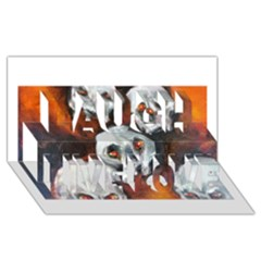 Halloween Skulls No. 4 Laugh Live Love 3D Greeting Card (8x4)