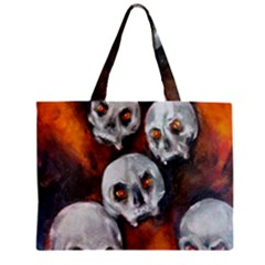 Halloween Skulls No. 4 Zipper Tiny Tote Bags