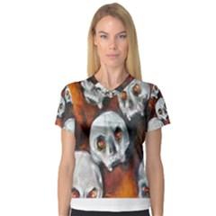 Halloween Skulls No. 4 Women s V-Neck Sport Mesh Tee