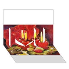 Holiday Candles  I Love You 3d Greeting Card (7x5)