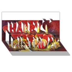 Holiday Candles  Happy Birthday 3d Greeting Card (8x4)