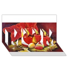 Holiday Candles  Mom 3d Greeting Card (8x4)