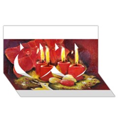 Holiday Candles  Twin Hearts 3d Greeting Card (8x4)