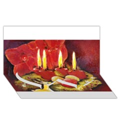 Holiday Candles  Twin Heart Bottom 3D Greeting Card (8x4)