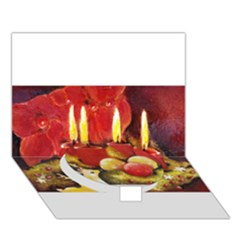 Holiday Candles  Circle Bottom 3d Greeting Card (7x5)
