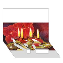 Holiday Candles  Love Bottom 3d Greeting Card (7x5)
