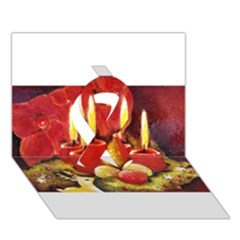 Holiday Candles  Ribbon 3D Greeting Card (7x5)