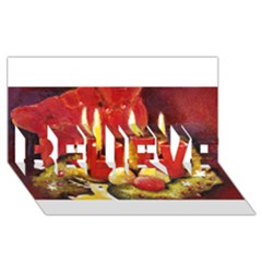 Holiday Candles  BELIEVE 3D Greeting Card (8x4)