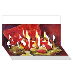 Holiday Candles  SORRY 3D Greeting Card (8x4)