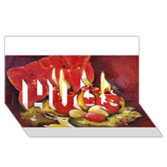 Holiday Candles  Hugs 3d Greeting Card (8x4)