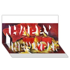 Holiday Candles  Happy New Year 3d Greeting Card (8x4)