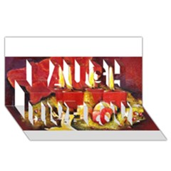 Holiday Candles  Laugh Live Love 3D Greeting Card (8x4)