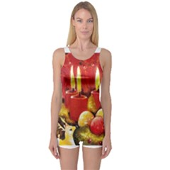 Holiday Candles  Women s Boyleg One Piece Swimsuits