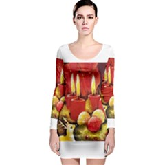 Holiday Candles  Long Sleeve Bodycon Dresses