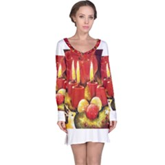 Holiday Candles  Long Sleeve Nightdresses