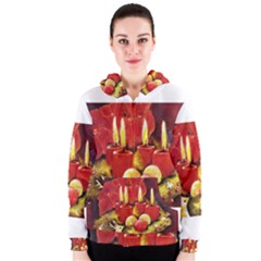 Holiday Candles  Women s Zipper Hoodies