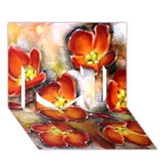 Fall Flowers I Love You 3D Greeting Card (7x5)