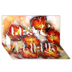 Fall Flowers Best Friends 3D Greeting Card (8x4)