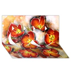 Fall Flowers Twin Hearts 3D Greeting Card (8x4)