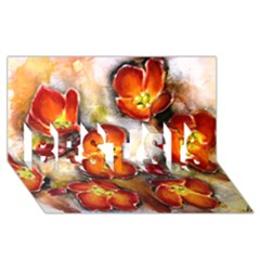 Fall Flowers Best Sis 3d Greeting Card (8x4)