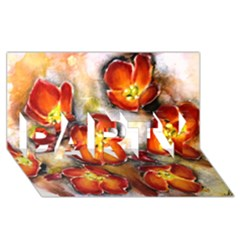 Fall Flowers PARTY 3D Greeting Card (8x4)