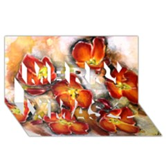 Fall Flowers Merry Xmas 3d Greeting Card (8x4)