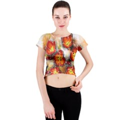 Fall Flowers Crew Neck Crop Top