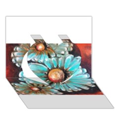 Fall Flowers No. 2 Heart 3D Greeting Card (7x5)