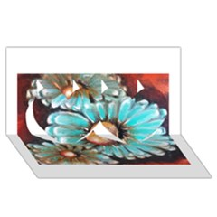 Fall Flowers No. 2 Twin Hearts 3D Greeting Card (8x4)