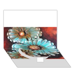 Fall Flowers No  2 Circle Bottom 3d Greeting Card (7x5)