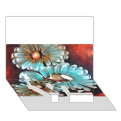 Fall Flowers No  2 Love Bottom 3d Greeting Card (7x5)