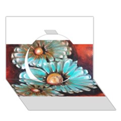 Fall Flowers No  2 Circle 3d Greeting Card (7x5)