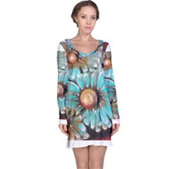 Fall Flowers No  2 Long Sleeve Nightdresses