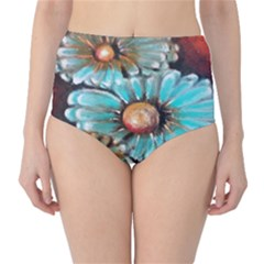 Fall Flowers No  2 High Waist Bikini Bottoms