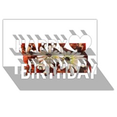 Fall Flowers No. 3 Happy Birthday 3D Greeting Card (8x4)