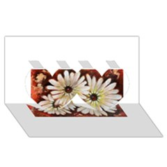Fall Flowers No. 3 Twin Hearts 3D Greeting Card (8x4)