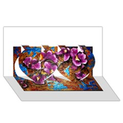 Fall Flowers No  5 Twin Hearts 3d Greeting Card (8x4)