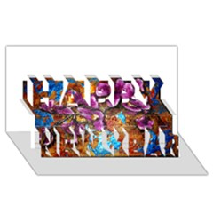 Fall Flowers No. 5 Happy New Year 3D Greeting Card (8x4)