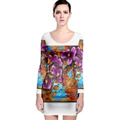 Fall Flowers No. 5 Long Sleeve Bodycon Dresses