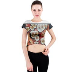 Fall Flowers No. 6 Crew Neck Crop Top