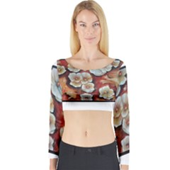 Fall Flowers No. 6 Long Sleeve Crop Top
