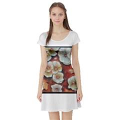 Fall Flowers No. 6 Short Sleeve Skater Dresses