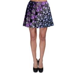 Dusk Blue and Purple Fractal Skater Skirt