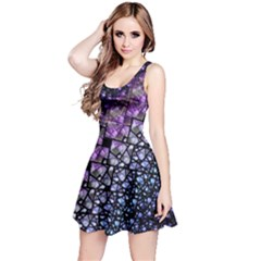 Dusk Blue and Purple Fractal Reversible Sleeveless Dress