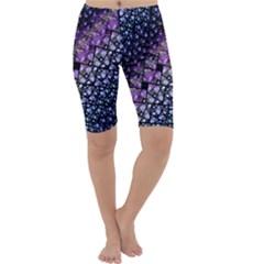 Dusk Blue and Purple Fractal Cropped Leggings